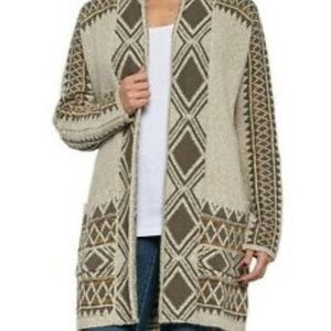 Lucky Brand Tribal Open Cardigan Sweater Olive